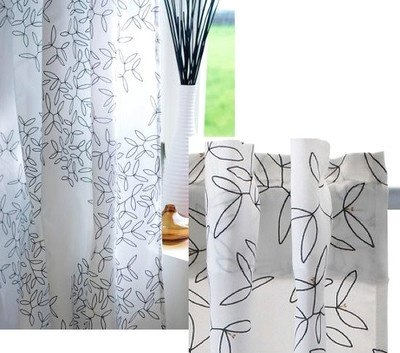 Hedda Blad Pair of Curtain, 2 Panels, White/Black Floral Pattern