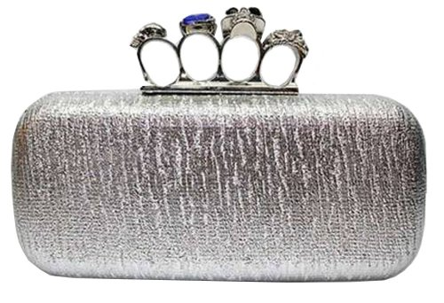 Skull Clutch Silver Metallic Knuckle Duster Four Ring Evening Clutch Bag, Bags Central