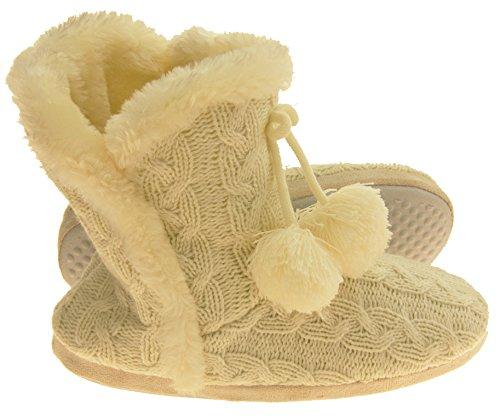 Dunlop Mujer Eleanor Cable De Punto Botas De Piel De Zapatilla Forrado Crema