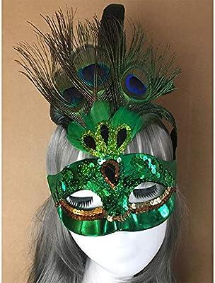 A_Feel Máscara de Plumas de Pavo Real Máscara de Media máscara de ...