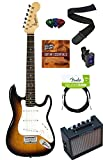 Squier by Fender Mini Strat Electric Guitar Bundle with Amplifier, Cable, Tuner, Strap, Picks, Austin Bazaar Instructional DVD, and Polishing Cloth - Sunburst