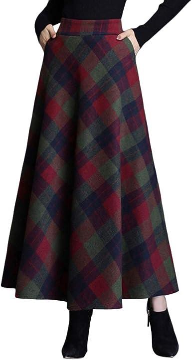 Byqny Falda Larga Péndulo Grande Falda Mujer Algodón Faldas de Cuadros Alta Clásica Falda Paraguas Grueso y Cálido Falda de Viento Británica Falda de Una Línea: Amazon.es: Ropa y accesorios
