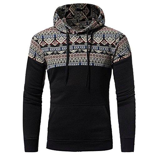 HTHJSCO Hoodie Jacket Coat, Men Retro Long Sleeve Hoodie Hooded Sweatshirt Tops Jacket Coat Outwear (Black, XXL) by HTHJSCO