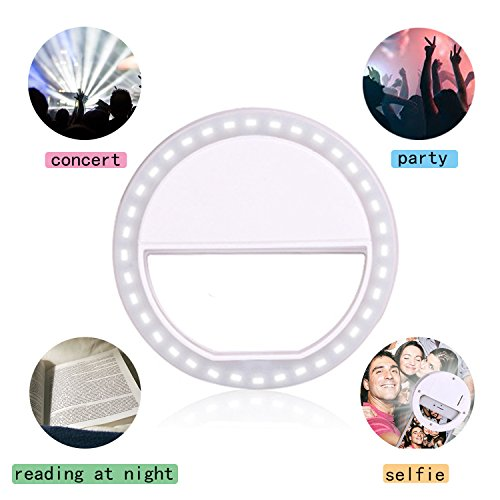 Clip on Selfie Ring Light for Smart Phone Camera Round Shape-By MEET Y(White)