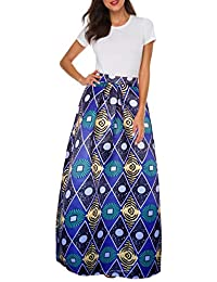 992a61cb83e Women African Printed Casual Maxi Skirt Flared Skirt Multisize A Line Skirt  (S-3XL
