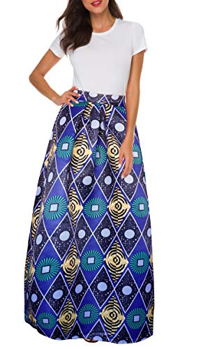 Afibi Women African Printed Casual Maxi Skirt Flared Skirt Multisize A Line Skirt (XXX-Large, Pattern 4)
