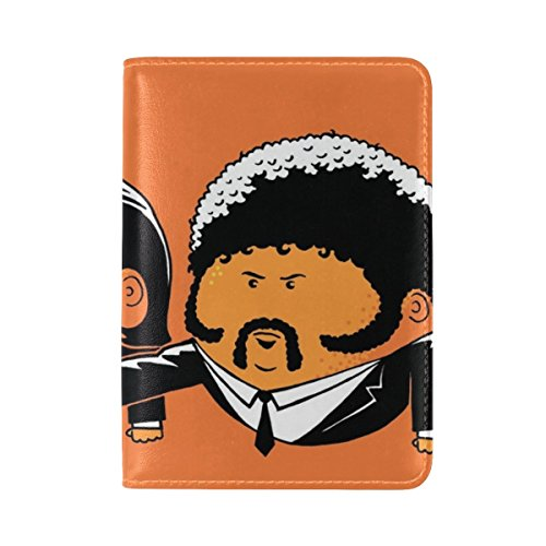 Pulp Fiction John Travolta Vincent Vega Samuel L Jackson Jules Winnfield Leather Passport Holder Cover Case Travel One Pocket