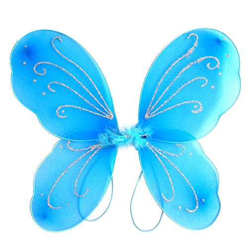 Blue Angel Wings Costume (BOBORA Kid Girl Angel Fairy Wings Dress Party Costume Halloween Cosplay Costume)