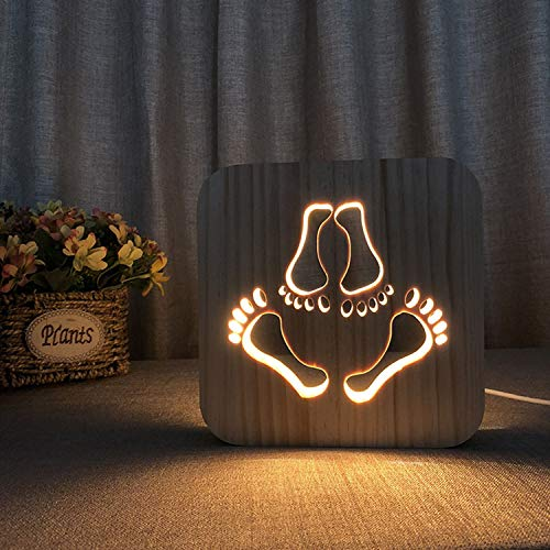 EFGS 3D Wooden Night Light, LED Wood Engraving Desk Lamp USB Shadow Light Bedroom Bedside Lamp, Halloween Christmas Valentine's Day Children's Day Gift(Footprint) ()