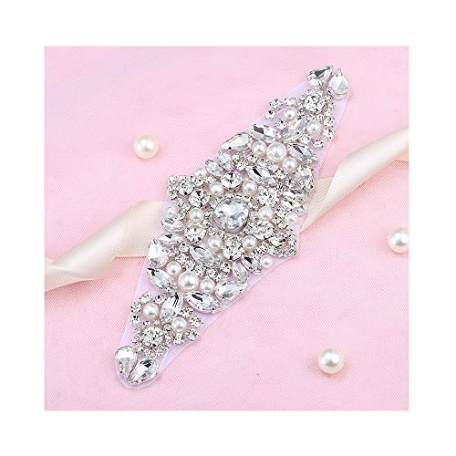 Crystal Rhinestone Appliques for Wedding Gown Bridal Belts Sashes Evening Prom (silver)
