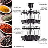 Blumwares Herb and Spice Rack with 12 Glass Jar Bottles - Revolving Countertop Carousel Herbs and Spices Set for Kitchen Counter