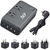 Key Power 2000-Watt Step Down 220V to 110V Voltage Converter & International Travel Adapter Power Strip - [Use for USA High-Wattage appliance overseas] Especially for Hair Dryer