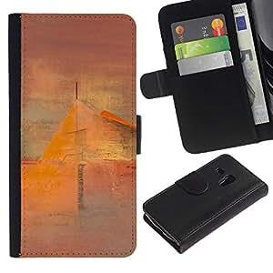 A-type (Art Painting House Mist) Colorida Impresión Funda Cuero Monedero Caja Bolsa Cubierta Caja Piel Card Slots Para Samsung Galaxy S3 MINI 8190 (NOT S3)