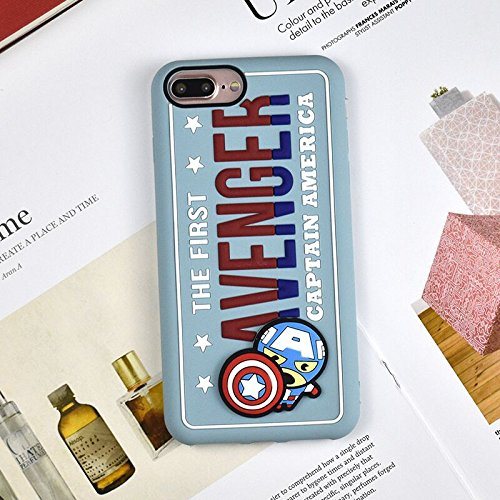 hot sale online 6a9eb 6b12a Case for iPhone 7 Plus / 8 Plus, Soft Silicone 3D Marvel Cartoon Captain  America Avenger Shock Drop Resistant Protective Shockproof Cool Fun Lovely  ...