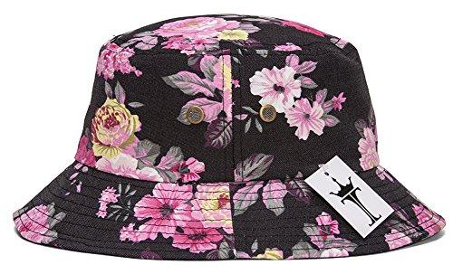 TOP HEADWEAR TopHeadwear Print Bucket Hats - Floral - Black/Pink