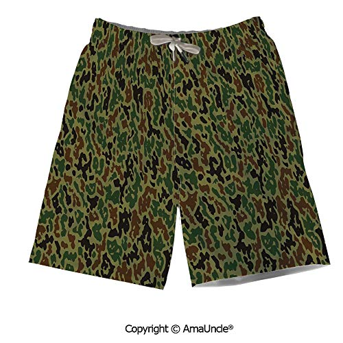 AmaUncle Printed Board Shorts Perfect for Summer,Military Summer Camouflage Pattern Grung