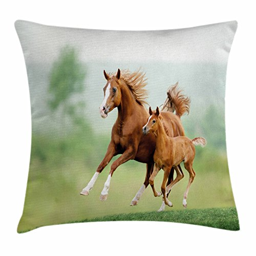 Sofa Set Chestnut (Lunarable Horse Throw Pillow Cushion Cover, Running Chestnut Horses Mare and Foal Meadow Scenic Summer Day Outdoors, Decorative Square Accent Pillow Case, 28 X 28 Inches, Pale Brown and Green)