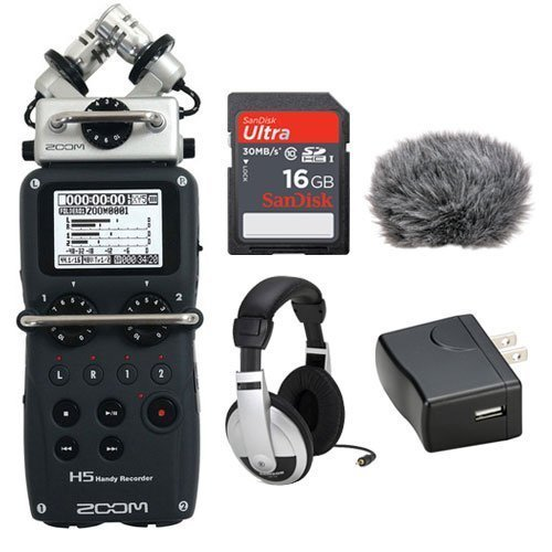 Zoom H5 Handy Recorder Kit with a Custom Windbuster, AD-17 AC Adapter, Closed-Back Stereo Headphones and a 16GB SDHC Memory Card Ultra by Zoom