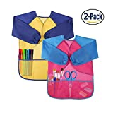 ABCDOK Kids Art Smocks 2 Pack, Children Waterproof Artist Painting Aprons Long Sleeve with 3 Pockets for Age 2-7 Years