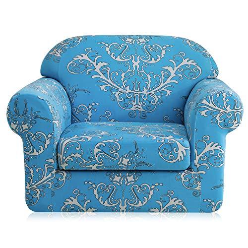 - TIKAMI Printed Floral Sofa Slipcovers 2-Piece Stretch Spandex Chair Covers Anti-Slip Couch Protector for Living Room(Chair,Blue)