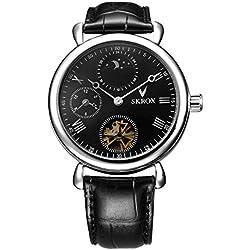 Skrox Men's Luxury Black Leather Automatic Mechanical Wrist Watch