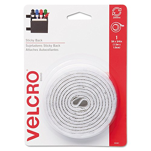 (Product of Velcro - Sticky-Back Hook and Loop Fastener Tape with Dispenser, 3/4 x 5 ft. Roll, White - Velcro and Mounting Products [Bulk Savings])