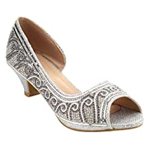 BELLA MARIE ID25 Girl's Rhinestone D'orsay Dress Sandal