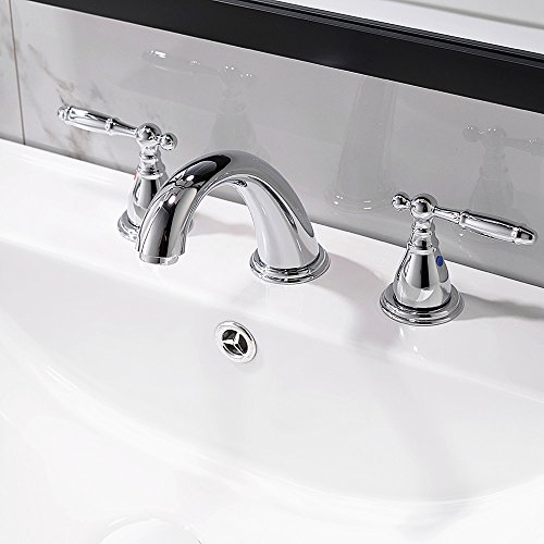 8 Inch 3 Hole Widespread Bathroom Faucet With Metal Pop Up