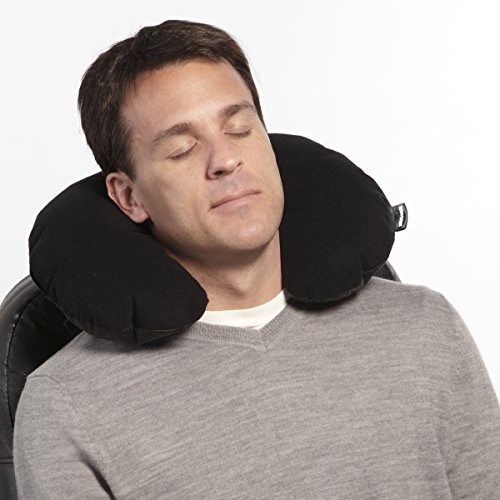 SwissGear Ultra-Light Inflatable Travel Neck Pillow with Soft Microfiber Cover, Black, One Size by Swiss Gear (Image #1)