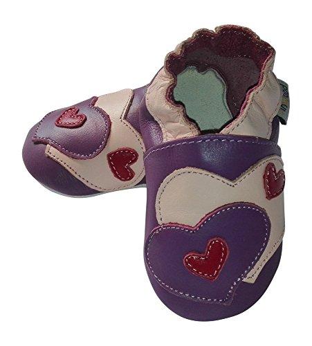 Lederhausschuhe Jinwood Krabbelschuhe für Baby`s und Kleinkinder Hausschuhe 6 verschiedene Modelle Heart purple