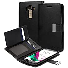 Vena LG G4 Wallet Case [vDiary] Chic Slim Tri-Fold Flip Cover PU Leather Wallet Case [Card Pockets & Stand] for LG G4 (Black)