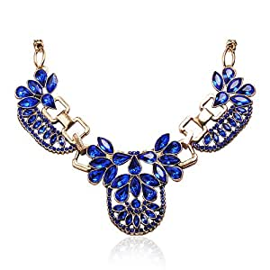 Jane Stone Luxurious Royal Blue Crystal Necklace Fashion Bridal Jewelry Vintage Choker Necklaces Popular Modern Collar Jewellery Wedding Jewelry(Fn0634-Royal Blue)