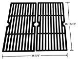 Hongso PCF123 Matte Cast Iron Cooking Grid Grates Replacement for Select Gas Grill Models by Kenmore, Charbroil, Thermos, Set of 2