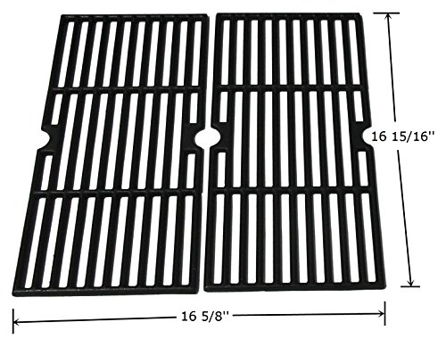 Hongso PCF123 Matte Cast Iron Cooking Grid Grates Replacement for Select Gas Grill Models by Kenmore, Charbroil, Thermos, Set of (Charbroil Grate)