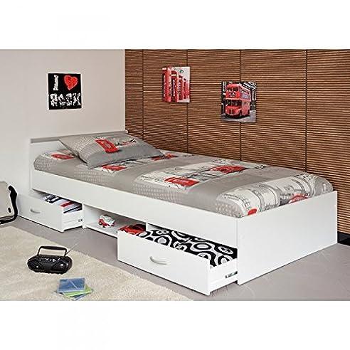 Bett für kinderzimmer  Funktionsbett Alawis 90*200 cm weiß inkl 2 Roll-Bettkästen ...