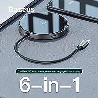 Baseus Circular Mirror Wireless Kablosuz Şarj+hdmi+usb 3.0 Hub SİYAH