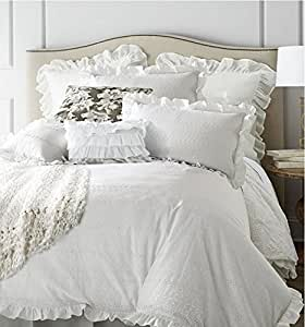 LELVA Pastoral Style Bedding Set Girls Bedding Duvet Cover Set Cotton Flat Fitted Sheet Set 4 Piece King Fitted
