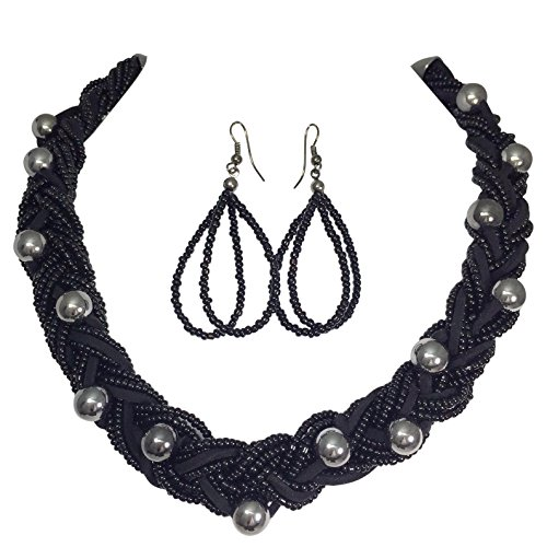 Braided Multi Strand Beaded Statement Necklace & Earrings Set (Black & Gun Metal) (Black Weave Necklace)
