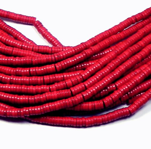 6mm Heishi Chalk Turquoise Dyed Red Gemstone Beads Approx 30