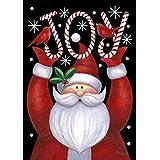 Toland Home Garden Santa Joy 12.5 x 18 Inch Decorative Winter Christmas Holiday Candy Cane Double Sided Garden Flag