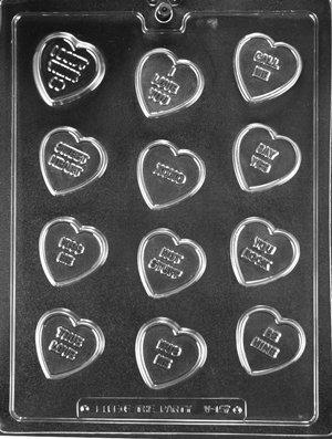 12 Cavity Conversation Heart Plastic Mold (Heart Conversation Soaps)