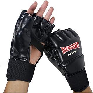 8haowenju Gants de Boxe, Gants d'entraînement Sanda Demi-Doigts, Gants de Doigt Sanda Muay Thai Taekwondo, Gants d'entraînement, Noirs Choix du consommateur