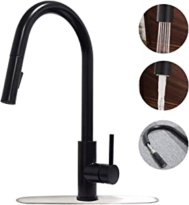 Trywell Matte Black Kitchen Sink Bar Prep Mixer Faucet with Pull Down Out Sprayer 1 or 3 Hole Deck Plate Hot & Cold Water 304 Food Grade Solid Stainless Steel