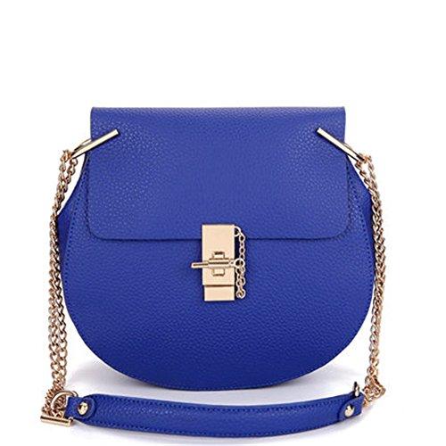 Pu Azul Bolsas Cuero Elegante Puro Casual Mujer Crossbody Pequeña Keral Color qwRZ8
