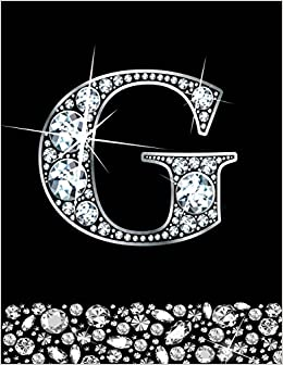Kensington Press - G: Letter G Monogram Notebook/journal For Writing 100 Lined Pages, Initial G Monogram Gift Faux Diamonds Design
