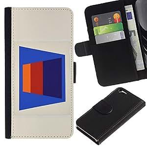 A-type (Patrón de líneas abstractas 3D Art Blue) Colorida Impresión Funda Cuero Monedero Caja Bolsa Cubierta Caja Piel Card Slots Para Apple (4.7 inches!!!) iPhone 6 / 6S