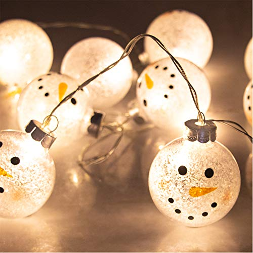 (ITART Snowman Ball String Lights Cute Christmas String Lights Battery Operated 10 LEDs Lighted 2.36-Inch Ball Christmas Décor Indoor Outdoor Home Garden Festival Wedding Party Starry)