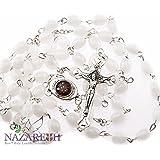 Beautiful Catholic White Glass Beads Rosary with Metal Crucifix from Jerusalem