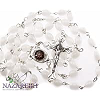 Beautiful Catholic White Glass Beads Rosary with Metal Crucifix from Jerusalem