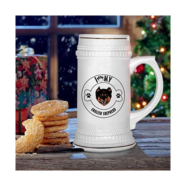 Custom Beer Mug I Love Paw My English Shepherd Dog Ceramic Drinking Glasses Beer Gifts White 18 OZ Design Only 6
